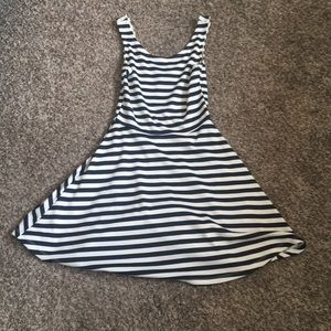 Navy blue and white striped cute dress, casual.